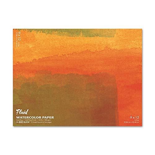 Fluid Artist 140LB Watercolor Paper Block, 9x12, Cold Press, 15 Sheets