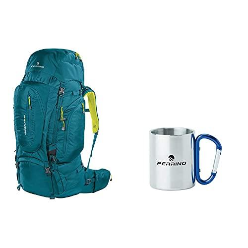Ferrino Transalp, Zaino Da Hiking Ed Escursionismo Unisex, Verde, 60 L & , Tazza Con Moschettone Grigio