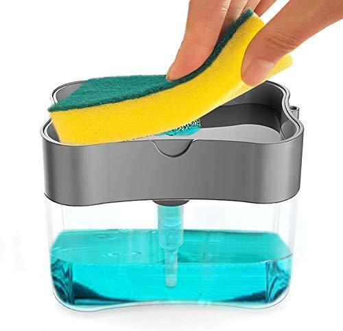 Soap Dispenser Sponge Holder 2 in1, Countertop soap Dispenser, Soap Pump Dispenser with Sponge, Silver,13 Ounces