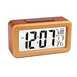 OURISE Wooden Large LED Digital Alarm Clock, Smart Sensor Night Light with Snooze, Date, Temperature, 12/24Hr Switchable,Easy to Use,Solid Wood Shell, for Bedrooms and Travel,Battery Operated(Walnut)