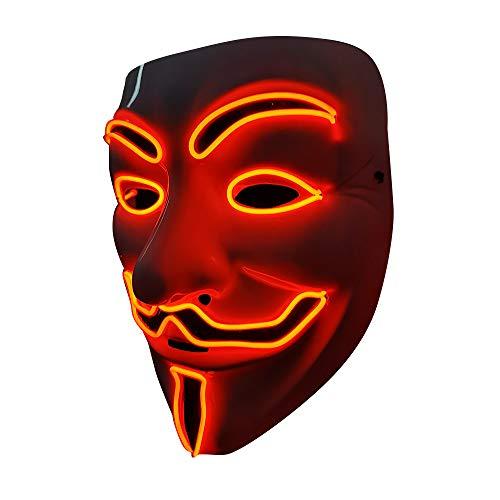 SOUTHSKY LED Maske Leuchtend V wie Vendetta Maske mit Led Licht Anonymous Masken Vollmaske Neon Lichter Blinker EL Draht Glowing 3 Modes Für Halloween Kostüm Cosplay Party (V-Rot)