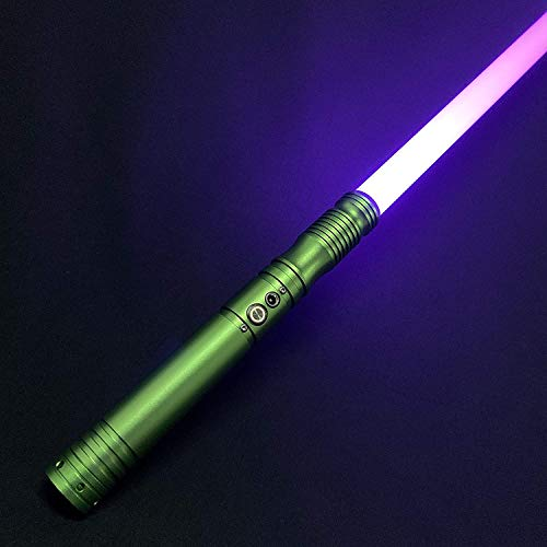 Duel Light Saber - RGB Multiple Colors Metal Hilt Force FX Lightsaber with 6 Sound Fonts, LED Rechargeable Light Sabers for Adults and Kids (Green)