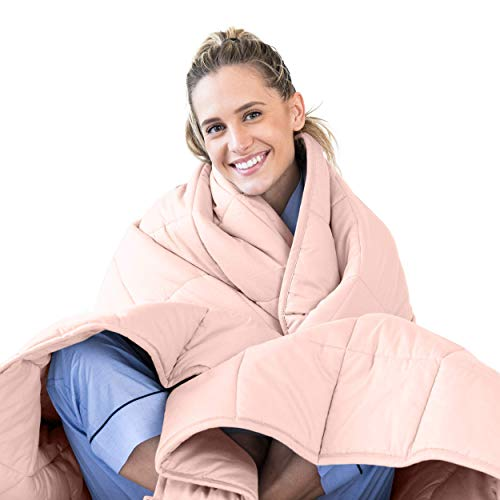 LUNA Adult Weighted Blanket   Individual Use - 15 lbs - 48x72 - Twin/Full Size Bed   100% Oeko-Tex Certified Cooling Cotton & Glass Beads   USA Designed   Heavy Cool Weight   Pink