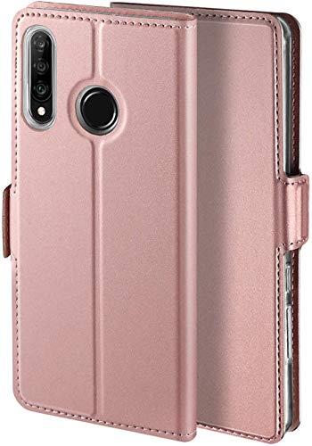 YATWIN Handyhülle für Huawei P30 lite Hülle & Huawei P30 Lite New Edition Hülle Premium Leder Flip Hülle Schutzhülle für Huawei P30 lite Tasche, Rose Gold