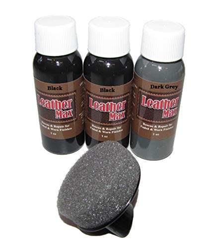 Leather Max Quick Blend Refinish and Repair Kit Black, Restore Couches, Recolor Furniture & Repair Car Seats, Jackets, Sofa, Boots / 3 Color Shades to Blend with/Leather Vinyl Bonded (Black Mix)