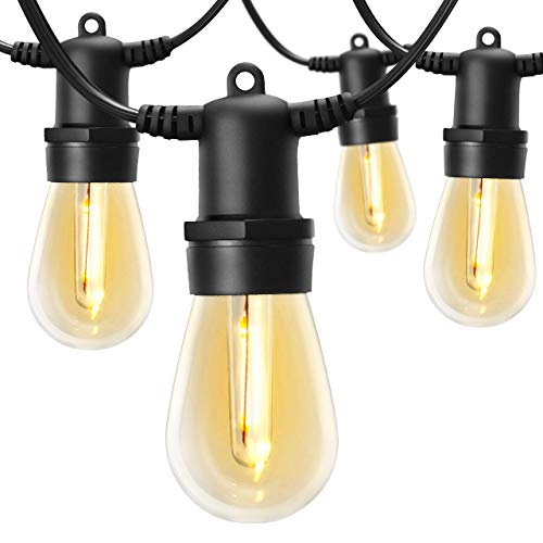 48FT LED Outdoor String Lights with 17 Shatterproof Bulbs IP65 Waterproof Dimmable for Patio String Lights, Backyard Lights, Cafe Lights, Porch Lights