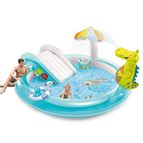 DLIBIG Los niños toboganes piscinas castillo hinchable pequeña piscina juguetes inflables tobogán acuático jardines al aire libre animoso cocodrilo actividad piscina rebote juego suave parque acuático