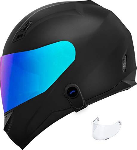 Motorcycle Helmet Bluetooth - GDM Ghost (XX-Large, Iridium & Clear Shields)
