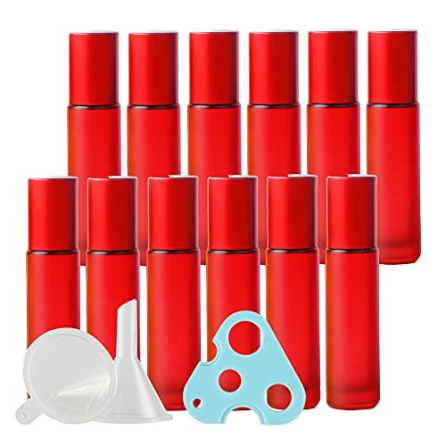TIANZD 12 Pieza Rojo Mate Botella Roll-on de Vidrio 10ml Botellas de Rodillos de Aceites Esenciales con Tapón de ALU Botellas de aceites Esenciales y 1 Embudos, 1 Abridor