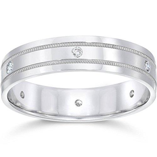 Mens Platinum Diamond Comfort Fit 6mm Wedding Band - Size 5.5