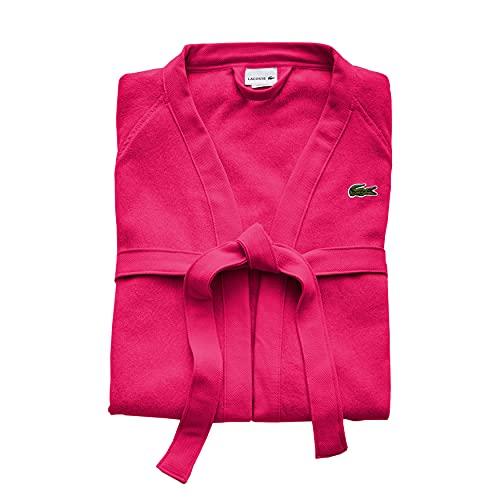 Lacoste Classic Pique 100% Cotton Bath Robe, One Size, Magenta