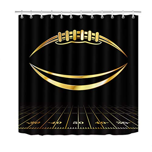 LB American Football Shower Curtain Watercolor Art Sports Game Black Background Cartoon Bathroom Curtain Home Decorative Polyester Fabric with Hooks,70x70 Inch