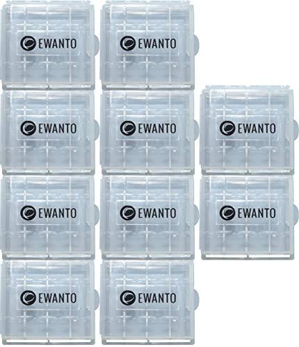 10x EWANTO Batteriebox/Akkubox zu Aufbewahrung von 4 STK. Mignon (AA) oder Micro (AAA) Batterien und Akkus transparent mit Logo