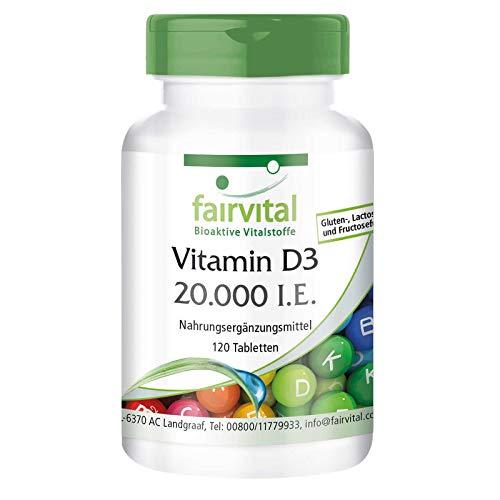 Vitamin D3 20.000 I.E. Depot - HOCHDOSIERT - Cholecalciferol - nur 1 Tablette alle 20 Tage - 120 Tabletten