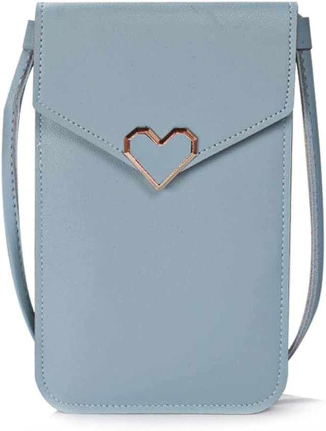 ISYSUII Crossbody Wallet Case for Samsung Galaxy S20 Touch Screen Cell Phone Purse Love Heart Pattern with Card Holder Neck Strap Leather Magnetic Protective Cover for Women Girls,Blue