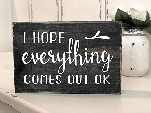 Funny Quote Wooden Sign Wall Plaque Home Decor Vintage Hanging I Hope Everything Comes Out Ok Block Wood Sign Bathroom Decor for Farmhouse Gift Idea