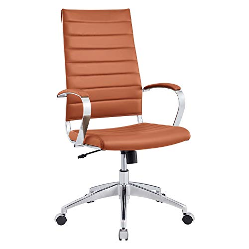 Modway Jive Ribbed High Back Tall Executive Swivel Office Chair With Arms In Terracotta