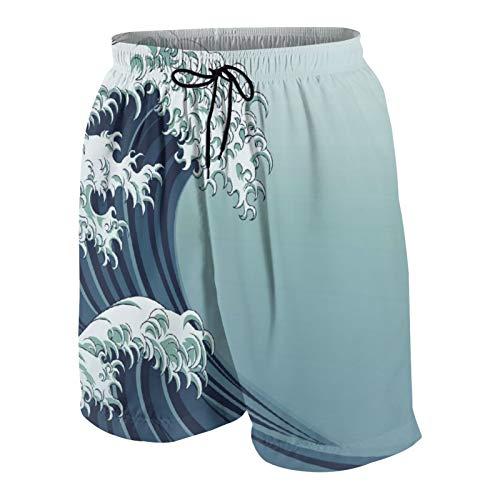 SUHOM De Los Hombres Casual Pantalones Cortos,Motivo Japonés Dibujo Estilo Vintage Inspiraciones Cultura Asiática Oriental,Secado Rápido Traje de Baño Playa Ropa de Deporte con Forro de Malla