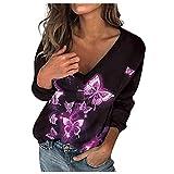 Mujer Moda Blusas de Manga Larga con Impresión de Flores Camisetas de Escote en V Elegantes Camisas de Mezcla de Algodón Suave y Ligero Blusas Casual Moderna Otoños para Damas