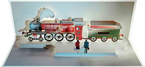 FOREVER Pop Up 3D Karte Lokomotive Grusskarte Geburtstag Gutschein Historischer Zug Wagon 25x15cm