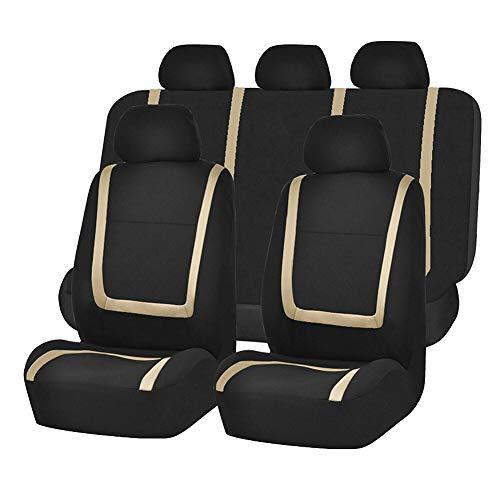 GUOCU Autositzbezüge Set Universal - Auto-Schonbezüge für die Vordersitze & Rückbank mit Airbag - Polyester Auto-Sitzschoner Komplettset,Beige,Einheitsgröße