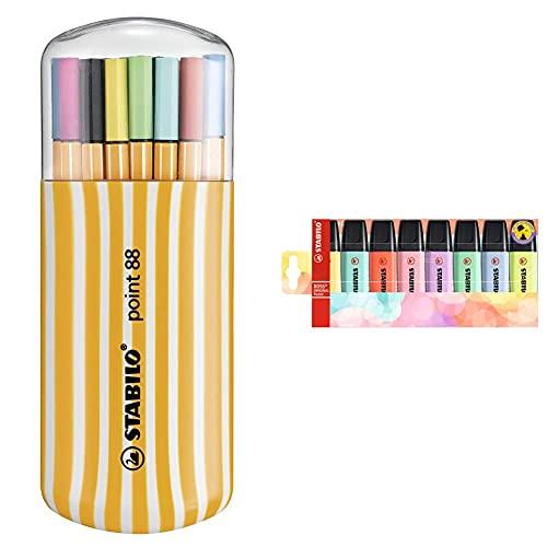 STABILO Rotulador punta fina point 88 Estuche premium Zebrui con 20 colores + Marcador ORIGINAL Pastel Estuche con 8 colores pastel