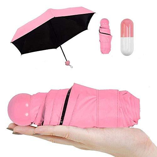 ZN&Z Ultra Leicht und Klein Anti-UV Mini Reise Regenschirm,mit Kreativ Niedlich Kapsel Fall, 5 Faltbarer Kompakt Taschengröße Sonnenschirm Regenschirme, für Frauen Mädchen Kinder