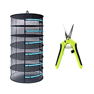 CASOLLY Herb Drying Rack 2ft 6 Layer Mesh Hanging Plant Dry w/Blue Zipper,Garden Scissor Include