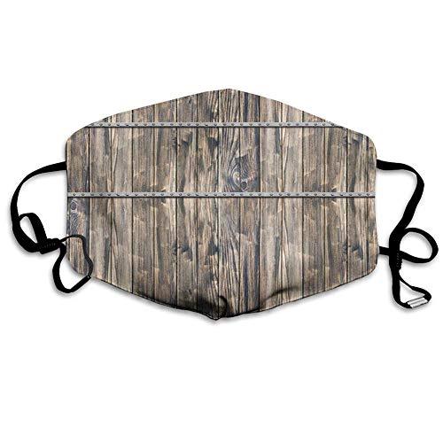 Rustikale Holzbretter mit langem Bauernhausmotiv und Schrauben und Linien Nature Art Verstellbare Earloop Half Face Scarf zum Schutz vor Staubrauch,18x11cm