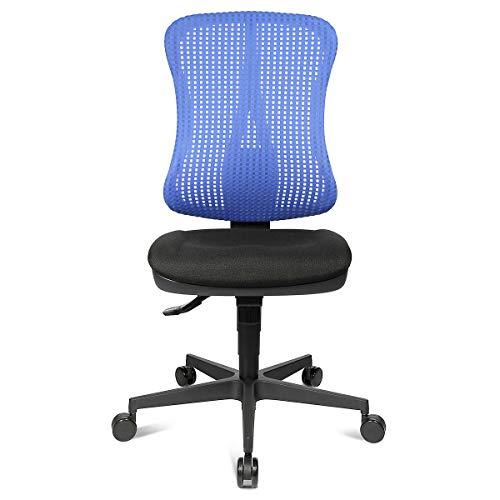 Preisvergleich Produktbild Topstar Bandscheiben-Drehstuhl,  Muldensitz - ohne Armlehnen - Sitz schwarz,  Netz-Rücken blau - Drehstuhl Drehstühle Schreibtischstuhl Schreibtischstühle