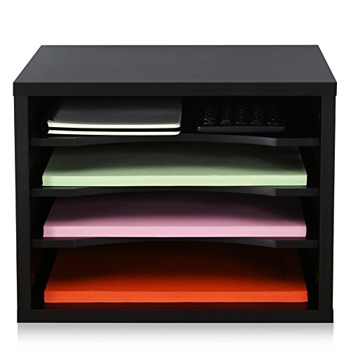 FITUEYES Black Wood Desk Organizer with 4 storage Paper File Holder for Home and Office