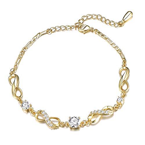 Akemaio Tobillera Inicial de Cadena chapada en Oro de 14K para Mujer Pulsera de Tobillo con Cadena Ajustable Niñas Boho Beach Foot Bracelet Jewelry