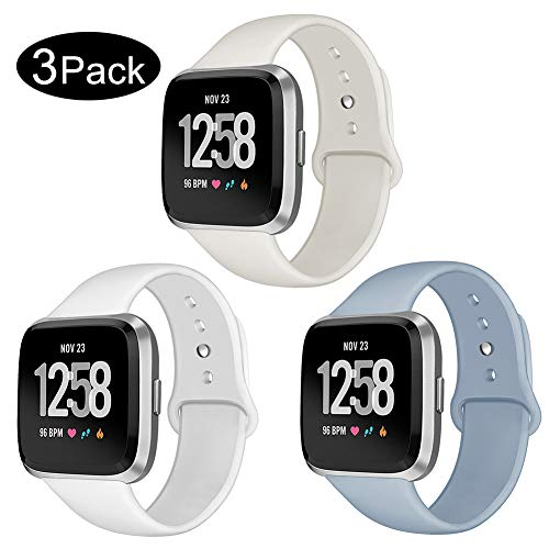 Kmasic Sport Band Compatible Versa/Versa Lite Edition 3 Pack, Soft Silicone Strap Replacement Wristband Compatible Versa Smart Watch, Small, Beige, White, Light Blue