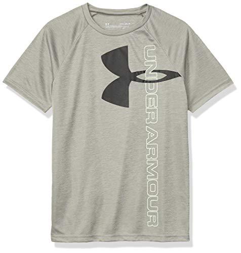 Under Armour Boys' Tech Split Logo Hybrid T-Shirt, Gravity Green (388)/Black, Youth Large