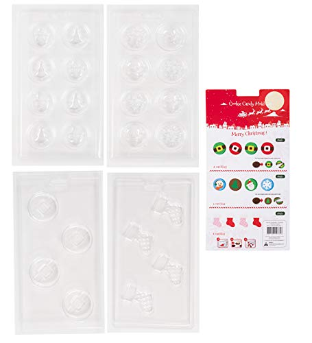 Christmas Chocolate Candy Mold for Holiday Party Treats (4 Pack, 24 Dessert Forms)
