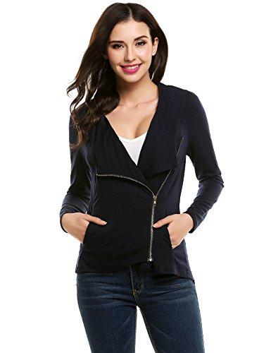 ACEVOG Damen Strickjacke Asymmetrisch Pullover Sweatshirt Tops Cover up Outwear (EU 36(Herstellergröße:S), Dunkelblau)