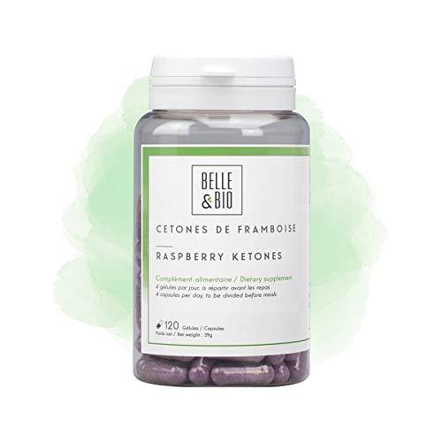 Belle&Bio - Cétones de Framboise - 120 gélules - 125 mg/jour - Brûleur et Capteur de graisses - Fabriqué en France