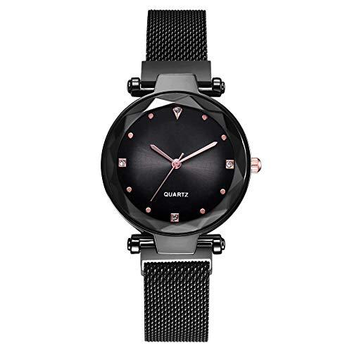 Powzz - Reloj inteligente para mujer, color rojo con la misma hebilla magnética, cuarzo
