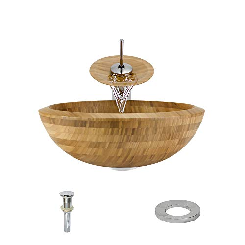 890 Bamboo Vessel Sink Chrome Bathroom Ensemble with Waterfall Faucet (Bundle - 4 Items: Sink, Faucet, Pop Up Drain, and Sink Ring)