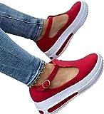 HJXY Zapatos de Plataforma con Correa en T para Mujer, 2021 Primavera Retro Mocasines con Cabeza Redonda Cuñas Sandalias Casual Verano Alpargatas con Punta Cerrada (EU37,Rojo)