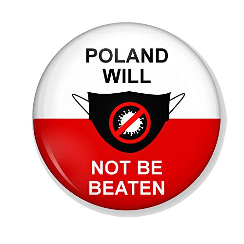 Gifts & Gadgets Co. Make-up-Spiegel Polen Flagge Will Not Be Beaten By Coronavirus, 58 mm, rund, bedruckt, ideal für Handtasche oder Hosentasche
