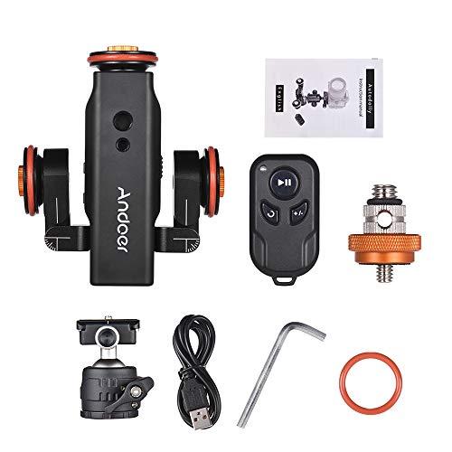 Andoer L4 PRO Video Kamera Slider Dolly Automatische mit Drahtlose Fernbedienung,1800mAh Akku 3 Geschwindigkeit einstellbar Mini Slider Skater für Canon Nikon DSLR-Kamera iOS Android(mit Kugelkopf)