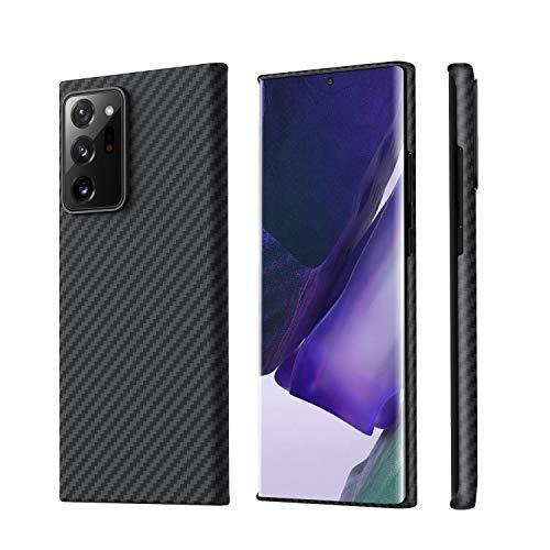 「PITAKA」MagEZ Case Galaxy Note20 Ultra 対応 ケース アラミド繊維製 高級なカーボン風 超薄(0.85mm) 超軽量(17g) 耐衝撃 6.9インチ ミニマリスト シンプル デザイン ワイヤレス充電 対応 カバー (黒/グレーツイル柄)