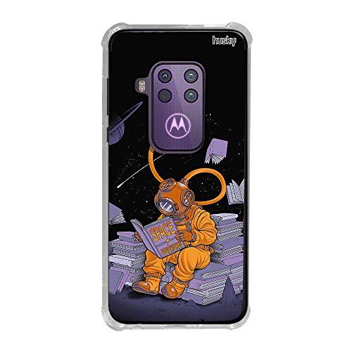Capa Anti-Impacto Personalizada para Motorola One Zoom - Mergulhador no Espaço Lendo - Husky