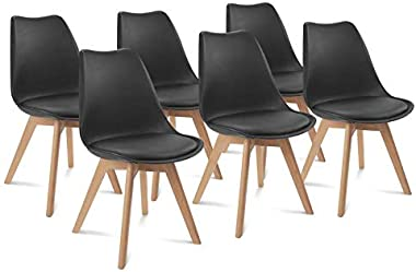 IDMarket - Lot de 6 chaises SARA Noires pour Salle à Manger