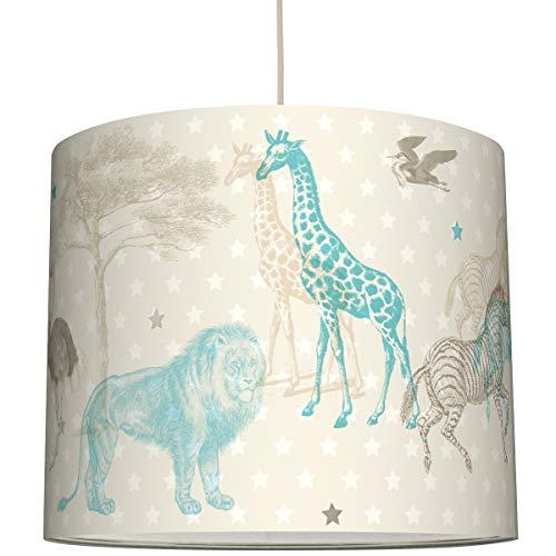 anna wand Hängelampe AFRICAN ANIMALS – Lampenschirm für Kinder/Baby Lampe mit Tieren der Steppe – Sanftes Kinderzimmer Licht Mädchen & Junge – ø 40 x 34 cm
