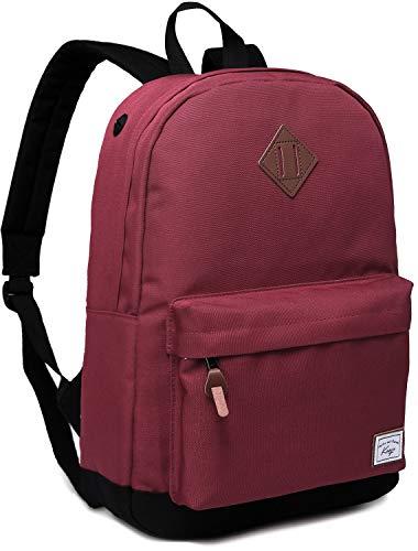 Schulrucksack Mädchen Teenager, Kasgo Wasserabweisend Klassischer Rucksack Damen mit Gepolstertem 14 Zoll Laptopfach Schultasche für Jugendliche Hochschule Burgunder MEHRWEG