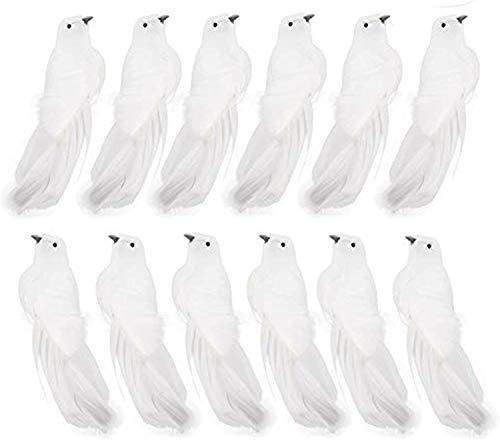 Lamf Künstliche Taube, Vogel mit Feder, 12er Set, Künstliche Deko-Tauben mit Clips, Weihnachtsornamente, für Hochzeiten, Dekoration, Partyzubehör, Weiß