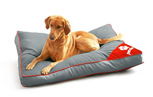 Pet Winks Waterproof Cushioned Mattress Pillow Pet Bed Removable Cushion Outdoors and Indoor Use (Grey/Red, 58x85cms)