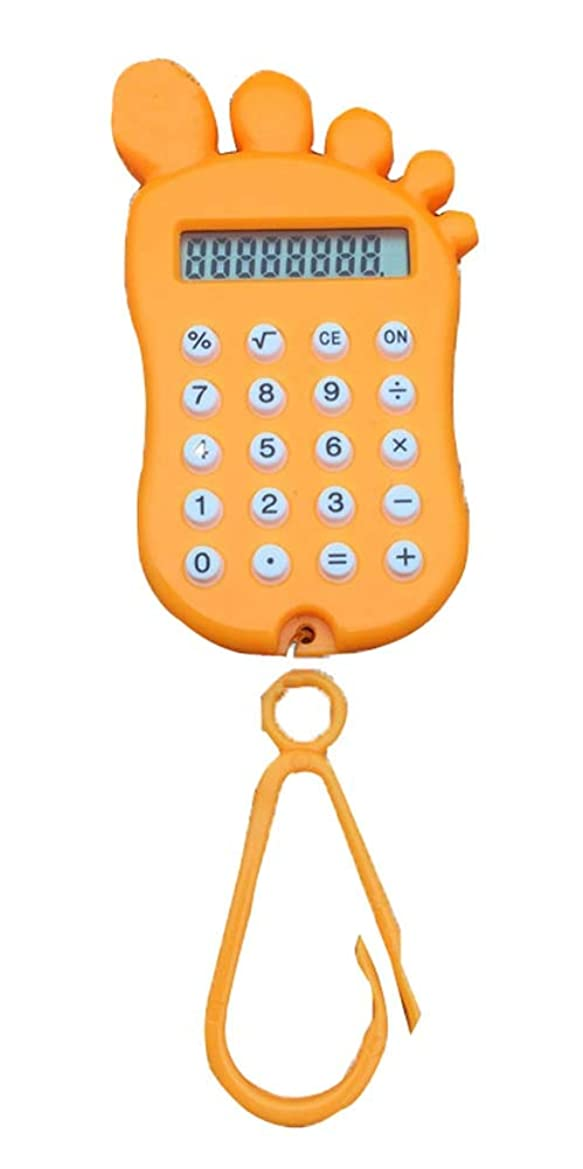 冗談でシャトル確立します小型 ポータブル 足型 ベーシック かわいい 計算機 学生用 オレンジ